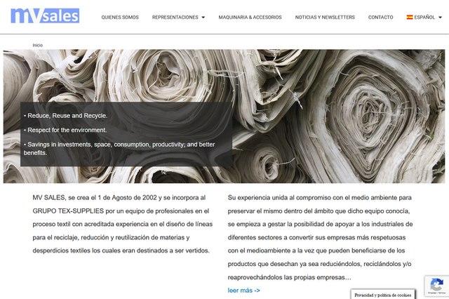 MV Sales Representación de maquinaria industrial, accesorios y complementos.