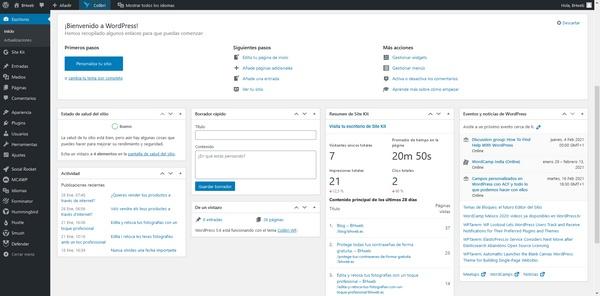 Panell d'administració de WordPress