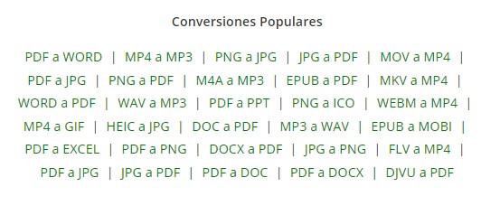 Alguns dels tipus d'arxiu i formats disponibles per a la conversió